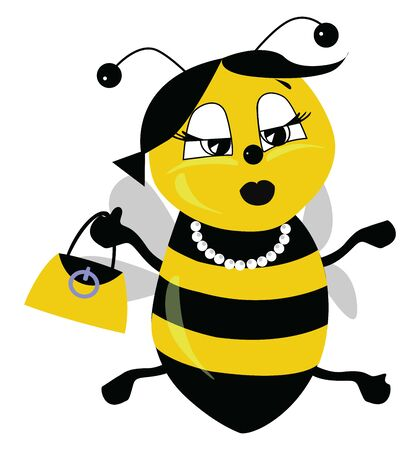A yellow bee with black stripes, wearing a choker, with yellow bag, black lipstick, big eyes, with two antenna, vector, color drawing or illustration.