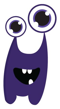 A purple monster with big eyes and three teeth., vector, color drawing or illustration.