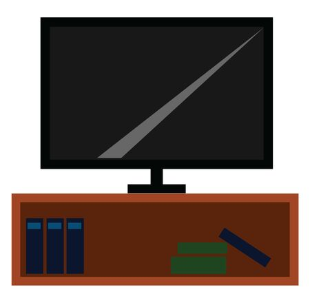 A big-sized TV mounted on the wooden cabinet stand occupied with few books in blue and green colors isolated on white background viewed from the front, vector, color drawing or illustration. Ilustração