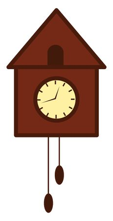A wooden bird tree wall clock with hanging designs and the bird peeps out and chirps for every one hour that the clock strikes, vector, color drawing or illustration.