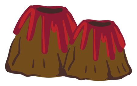 Painting of two volcanoes exploding in fiery when molten rock, ash, and steam pour through a vent in the earths crust, vector, color drawing or illustration.