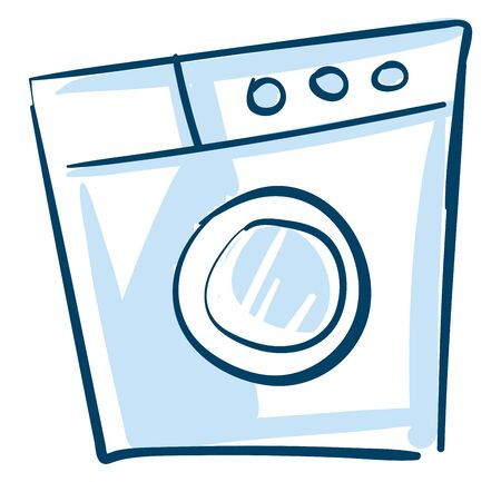 Washing machine, a household electronic equipment with special wash programmes and a knob to wash and dry laundry with a hassle-free wash performance, vector, color drawing or illustration.