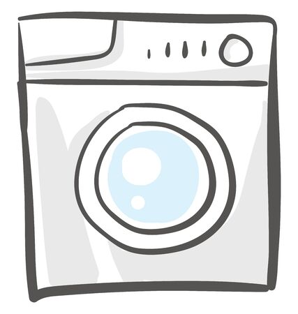 Washing machine, a household electronic equipment with special wash programmes and three knobs to wash and dry laundry with a hassle-free wash performance, vector, color drawing or illustration.