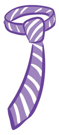 A purple and white necktie adorned with eye-catchy designs is perfect for mens business and special days set isolated white background viewed from the front, vector, color drawing or illustration.