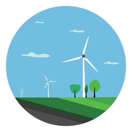 A landscape with few green trees and wind turbines that transforms the kinetic energy in the wind into mechanical power used for grinding grain or pumping water, vector, color drawing or illustration.