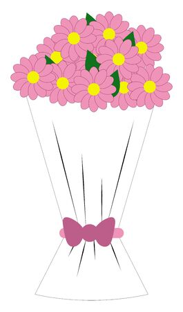 Drawing ideas of the beautiful wedding bouquet with a bloomed bunch of flowers having rose florets and yellow disc, wrapped with cellophane, vector, color drawing or illustration. Illustration