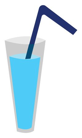 A glass of water with blue straw, vector, color drawing or illustration.