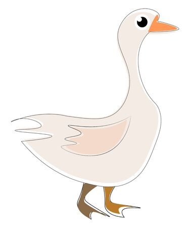 Big white goose with little bit of pink, round eyes and yellow beak., vector, color drawing or illustration. Vectores