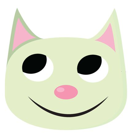 A green smiling cat, with big eyes, pink nose and ears, vector, color drawing or illustration.