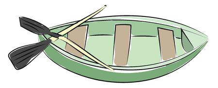 A green boat with brown seats, with two black paddle, vector, color drawing or illustration.