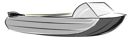 Gray speedboat with a wood with black paddle, and a glass front shield., vector, color drawing or illustration.