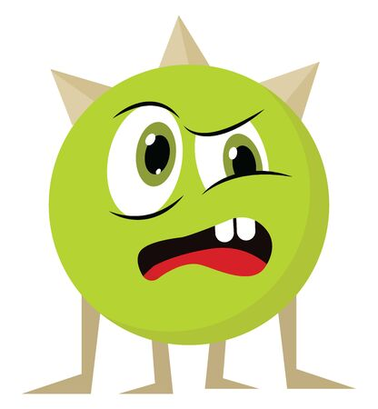 An angry monster with big eyes; with two teeth, with red tongue, with horn, vector, color drawing or illustration. Vetores