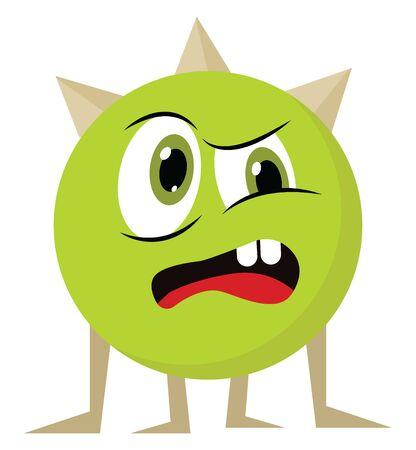 Un monstre en colère avec de grands yeux ; avec deux dents, avec langue rouge, avec corne, vecteur, dessin en couleur ou illustration. Vecteurs