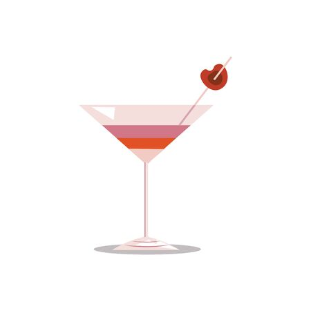 A pink glass of cocktail, with a slice of red cherry that is stick to a pink straw, vector, color drawing or illustration.