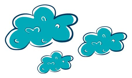 A green clouds with linings, scattered, vector, color drawing or illustration. Ilustracja