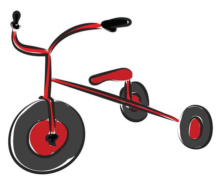 A red children bicycle with three wheels, with brake handles, vector, color drawing or illustration.