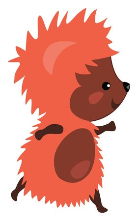 An orange cute hedgehog with brown skin, walking, vector, color drawing or illustration. Ilustrace