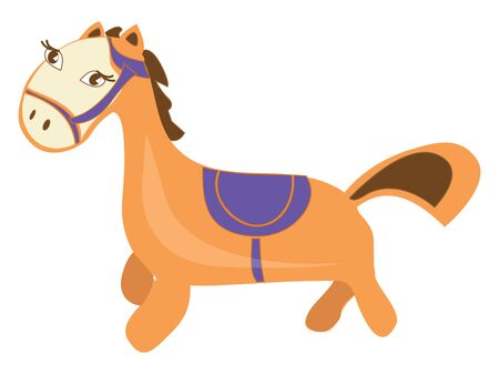 A brown racing horse with violet cover on top, vector, color drawing or illustration.