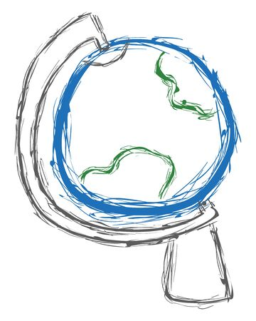 Spherical globe in blue and green color on a gray or silver stand rough sketch, vector, color drawing or illustration.