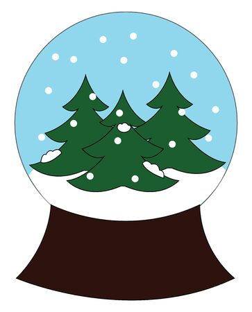 Christmas décor for table depicting the winter season with spruce tree and snow in a glass ball mounted on a sturdy wooden base creates a festive atmosphere, vector, color drawing or illustration. Illusztráció