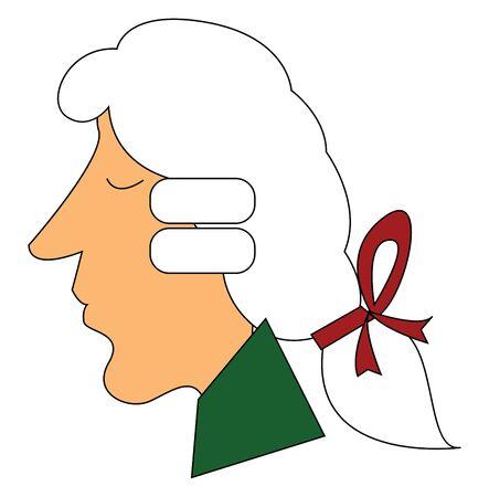 Ein reifer Mann in einem grünen Oberteil, einer weißen Perücke, die mit einem roten Band zusammengebunden ist, hat eine lange, nicht spitze Nase und sieht mit geschlossenen Augen von der Seite, Vektor, Farbzeichnung oder Illustration betrachtet friedlich aus.