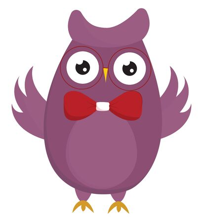 A purple cartoon owl with yellow inverted triangle-like beak and feet, beautiful wings opened, projecting horns is wearing a red bowtie , vector, color drawing or illustration. Illustration
