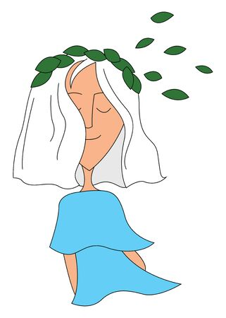 A cute little girl in a blue top with few oval-shaped green leaves drifting from the tree and falling on her white hair while sitting and enjoying the breeze, vector, color drawing or illustration.