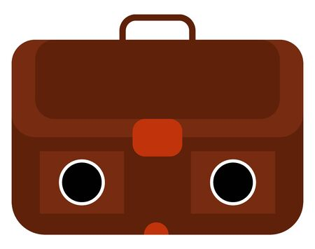 The box-style case made of leather with a handle to contain papers and files has two eyes, and a buckle closure , vector, color drawing or illustration. Ilustração