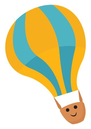 Emoji of a yellow hot air balloon with blue bands drifting through the air has a cute little face of a boy with two eyes and is smiling over white background, vector, color drawing or illustration.