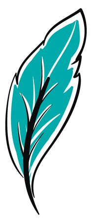 A blue feather, vector, color drawing or illustration.