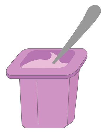 A purple cup of purple flavored yogurt with a spatula has a taste that is delicate and caresses all the senses in a special way, vector, color drawing or illustration.