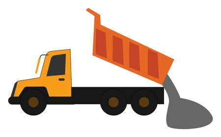 A yellow dump truck in operational process, the loaded gravel slides out when the bed is lifted, set isolated on white background viewed from the side, vector, color drawing or illustration.