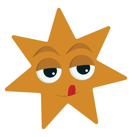 A seven-pointed yellow star has a cute little face with eyes rolled up, and tongue stuck out and up, set isolated on white background viewed from the front, vector, color drawing or illustration. Illustration