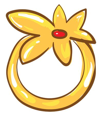 A picture of a yellowgolden flower ring with a red stone, vector, color drawing or illustration. 向量圖像
