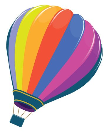 A picture of a very colorful hot air balloon, vector, color drawing or illustration.