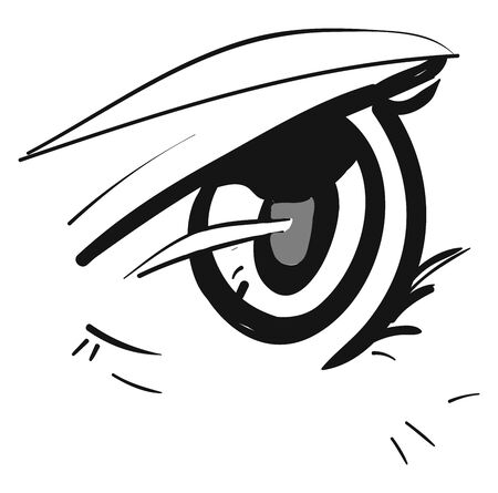An open wide anime eye with lashes, with eyebrow, vector, color drawing or illustration. Ilustração