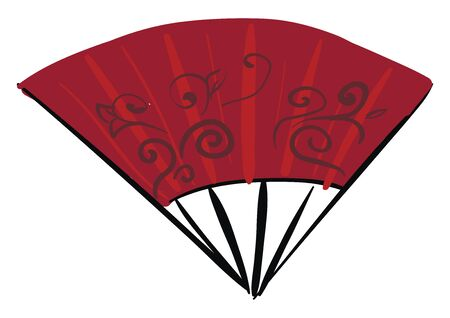 A painting of a red Asian fan with spiral line designs, vector, color drawing or illustration.