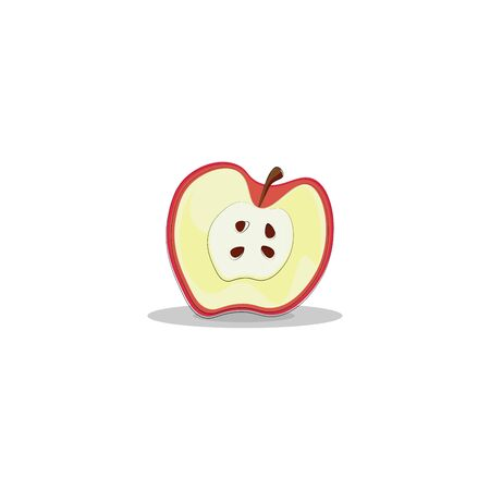 A slice of apple with four seeds, vector, color drawing or illustration.