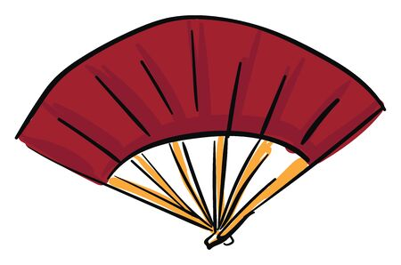 A drawing of a red Asian hand fan, vector, color drawing or illustration. Ilustrace