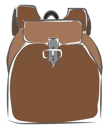 A brown backpack with a silver strap, vector, color drawing or illustration. Illusztráció