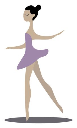 A ballerina in a purple dress, vector, color drawing or illustration.
