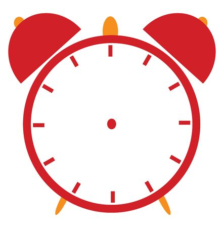 A picture of a red alarm clock, vector, color drawing or illustration. Stok Fotoğraf - 132673986