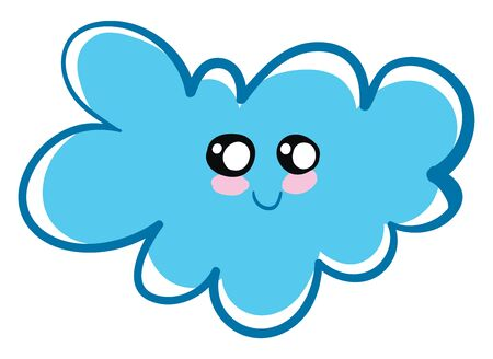 A blue fluffy cloud with a smiling face, black and white eyes, pink cheeks and blue lip., vector, color drawing or illustration.