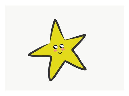 A yellow star with smiling face and five fingers., vector, color drawing or illustration. Illustration