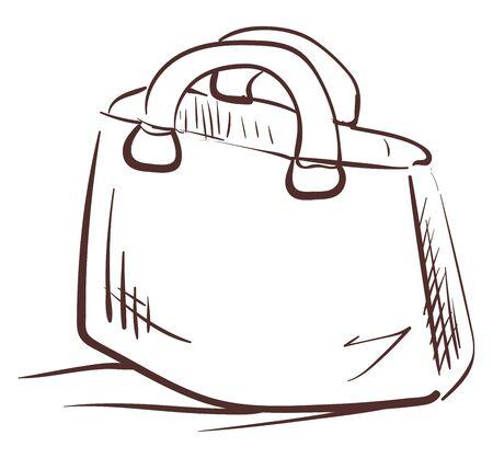 A brown sketch of a handbag, vector, color drawing or illustration.