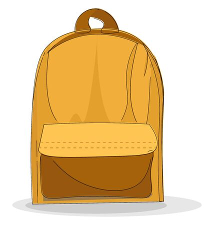 A yellow backpack, vector, color drawing or illustration.