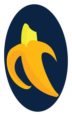 A yellow peeled banana that has been bitten, vector, color drawing or illustration. Çizim