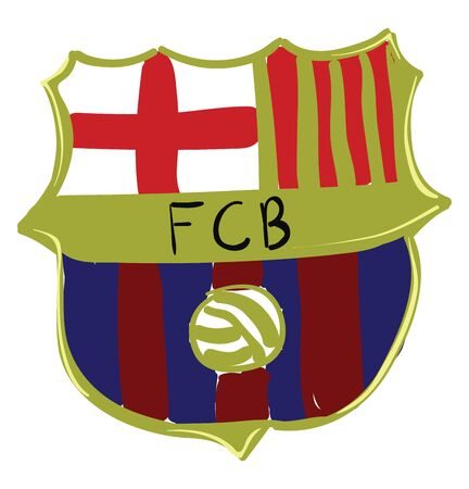 A drawing of the FC Barcelona Emblem, vector, color drawing or illustration. 矢量图像