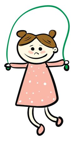 A girl in a green jumping rope, in pink dress, smiling with brown hair, vector, color drawing or illustration.