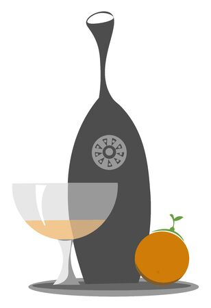 An illustration of a wine glass with orange juice beside a black juicer and an fresh orange, vector, color drawing or illustration.